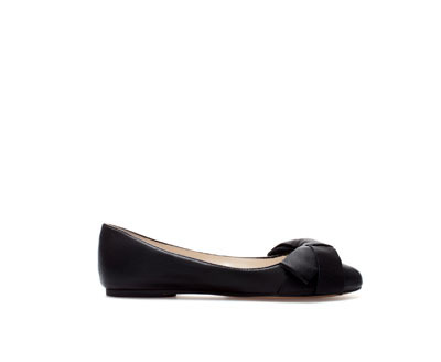 Leather Ballerina With Bow - predominant colour: black; occasions: casual, work, creative work; material: leather; heel height: flat; toe: round toe; style: ballerinas / pumps; finish: plain; pattern: plain; embellishment: bow; trends: gothic romance; season: a/w 2013