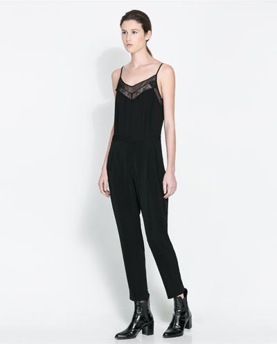 Jumpsuit With Spaghetti Straps - neckline: low v-neck; sleeve style: spaghetti straps; pattern: plain; bust detail: added detail/embellishment at bust; predominant colour: black; occasions: casual, evening, creative work; length: ankle length; fit: body skimming; fibres: polyester/polyamide - stretch; sleeve length: sleeveless; texture group: silky - light; style: jumpsuit; pattern type: fabric; season: a/w 2013