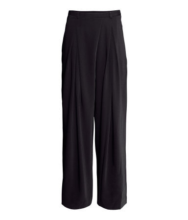 Wide Trousers - length: standard; pattern: plain; style: palazzo; pocket detail: small back pockets, pockets at the sides; waist: mid/regular rise; predominant colour: black; occasions: casual, evening, work, creative work; fibres: polyester/polyamide - 100%; texture group: crepes; fit: wide leg; season: a/w 2013