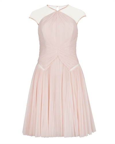 Ted Baker Trixxy Pleat Detail Evening Dress - sleeve style: capped; pattern: plain; style: prom dress; waist detail: flattering waist detail; shoulder detail: contrast pattern/fabric at shoulder; predominant colour: blush; occasions: evening, occasion; length: just above the knee; fit: fitted at waist & bust; fibres: polyester/polyamide - 100%; neckline: crew; hip detail: subtle/flattering hip detail; sleeve length: sleeveless; texture group: sheer fabrics/chiffon/organza etc.; pattern type: fabric; season: a/w 2013