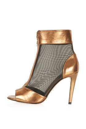 Apres Mesh Stiletto Boots - predominant colour: gold; material: leather; heel height: high; heel: stiletto; toe: open toe/peeptoe; boot length: ankle boot; style: standard; finish: metallic; pattern: colourblock; occasions: creative work; season: a/w 2013