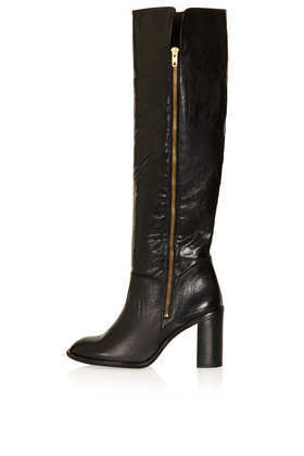 Cooper Side Zip Boots - predominant colour: black; occasions: casual, creative work; material: leather; heel height: high; heel: block; toe: round toe; boot length: knee; style: standard; finish: plain; pattern: plain; season: a/w 2013