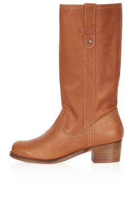 Coach Mid Heel Boots - predominant colour: tan; occasions: casual, creative work; material: leather; heel height: mid; heel: block; toe: round toe; boot length: mid calf; style: standard; finish: plain; pattern: plain; season: a/w 2013