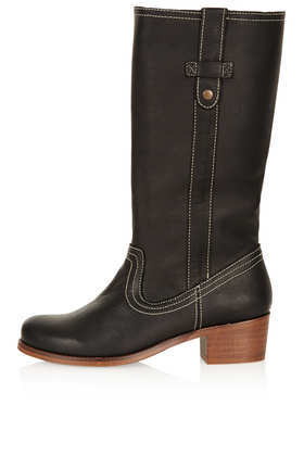 Coach Mid Heel Boots - predominant colour: black; occasions: casual, creative work; material: leather; heel height: mid; heel: block; toe: round toe; boot length: mid calf; style: standard; finish: plain; pattern: plain; season: a/w 2013