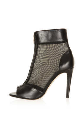 Apres Mesh Stiletto Boots - predominant colour: black; occasions: evening, creative work; material: leather; heel height: high; heel: stiletto; toe: open toe/peeptoe; boot length: ankle boot; style: standard; finish: plain; pattern: plain; season: a/w 2013