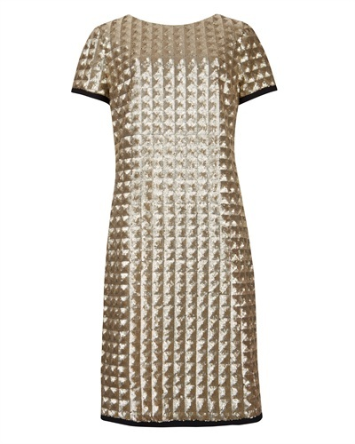 Ted Baker Tabie Sequin Dress - style: shift; neckline: round neck; pattern: plain; back detail: contrast pattern/fabric at back; predominant colour: gold; secondary colour: black; occasions: evening, occasion; length: just above the knee; fit: body skimming; fibres: polyester/polyamide - stretch; sleeve length: short sleeve; sleeve style: standard; pattern type: fabric; texture group: other - light to midweight; embellishment: sequins; trends: excess embellishment; season: a/w 2013