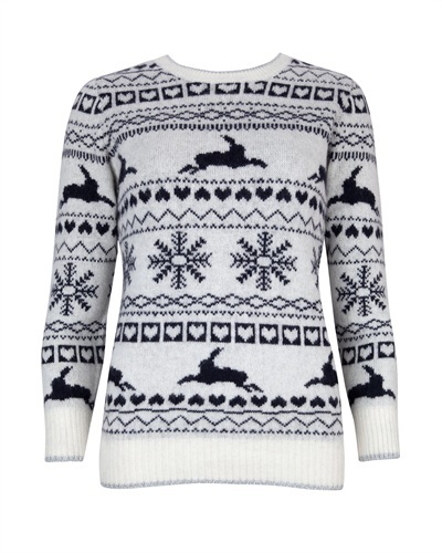 Ted Baker Maysi Fairisle Jumper - style: standard; occasions: casual; length: standard; fibres: wool - mix; fit: standard fit; neckline: crew; sleeve length: 3/4 length; sleeve style: standard; texture group: knits/crochet; predominant colour: monochrome; pattern type: knitted - fine stitch; pattern size: standard; pattern: patterned/print; trends: christmas jumpers; season: a/w 2013
