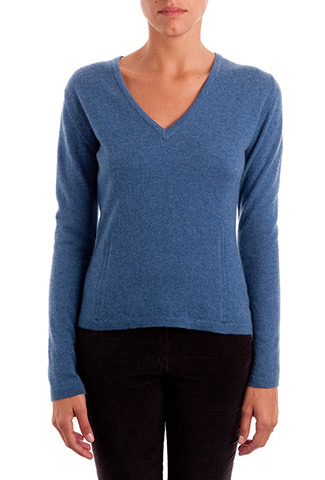 Winter Sky Cashmere Classic V Neck Jumper - neckline: low v-neck; pattern: plain; style: standard; predominant colour: denim; occasions: casual, work, creative work; length: standard; fit: slim fit; fibres: cashmere - 100%; sleeve length: long sleeve; sleeve style: standard; texture group: knits/crochet; pattern type: knitted - fine stitch; season: a/w 2013