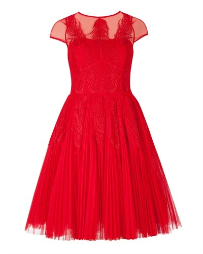 Ted Baker Miyaa Feather Applique Motif Dress - neckline: round neck; sleeve style: capped; pattern: plain; style: full skirt; predominant colour: true red; occasions: evening, occasion; length: just above the knee; fit: fitted at waist & bust; fibres: polyester/polyamide - 100%; hip detail: subtle/flattering hip detail; sleeve length: short sleeve; texture group: sheer fabrics/chiffon/organza etc.; pattern type: fabric; embellishment: applique; season: a/w 2013; wardrobe: event; embellishment location: skirt, top