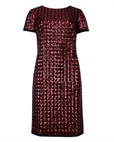 Ted Baker Tabie Sequin Dress - style: shift; neckline: round neck; pattern: plain; predominant colour: burgundy; occasions: evening, occasion; length: just above the knee; fit: body skimming; fibres: polyester/polyamide - stretch; sleeve length: short sleeve; sleeve style: standard; pattern type: fabric; texture group: other - light to midweight; embellishment: sequins; trends: excess embellishment, broody brights; season: a/w 2013