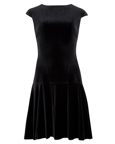 Ted Baker Tinna Velvet Dress - length: mid thigh; neckline: slash/boat neckline; sleeve style: capped; pattern: plain; style: drop waist; predominant colour: black; occasions: casual, evening, work, occasion, creative work; fit: fitted at waist & bust; sleeve length: sleeveless; pattern type: fabric; texture group: velvet/fabrics with pile; fibres: cashmere - stretch; season: a/w 2013