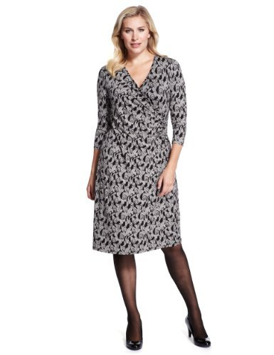 Plus Monochrome Feather Print Wrap Dress With Stay New™ - style: faux wrap/wrap; neckline: v-neck; occasions: casual, evening, work, occasion, creative work; length: on the knee; fit: body skimming; fibres: viscose/rayon - stretch; sleeve length: 3/4 length; sleeve style: standard; predominant colour: monochrome; pattern type: fabric; pattern size: standard; pattern: patterned/print; texture group: jersey - stretchy/drapey; season: a/w 2013