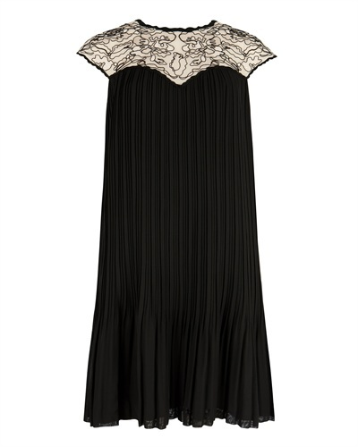 Ted Baker Wastila Lace Dress With Pleats - style: shift; length: below the knee; sleeve style: capped; pattern: plain; secondary colour: ivory/cream; predominant colour: black; occasions: evening; fit: soft a-line; fibres: polyester/polyamide - 100%; neckline: crew; sleeve length: short sleeve; pattern type: fabric; texture group: other - light to midweight; embellishment: lace; shoulder detail: sheer at shoulder; season: a/w 2015; wardrobe: event; embellishment location: shoulder