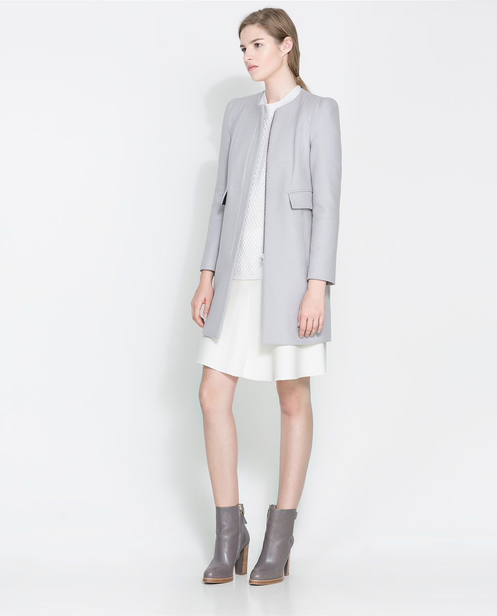 Coat With Gathering On The Shoulder - pattern: plain; collar: round collar/collarless; style: single breasted; length: mid thigh; predominant colour: light grey; occasions: casual, work, creative work; fit: tailored/fitted; fibres: wool - mix; shoulder detail: subtle shoulder detail; sleeve length: long sleeve; sleeve style: standard; collar break: high; pattern type: fabric; texture group: woven bulky/heavy; season: a/w 2013