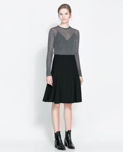 Flared Skirt - pattern: plain; fit: loose/voluminous; waist: high rise; predominant colour: black; occasions: casual, evening, work, creative work; length: on the knee; style: a-line; fibres: polyester/polyamide - 100%; pattern type: fabric; texture group: woven light midweight; season: a/w 2013
