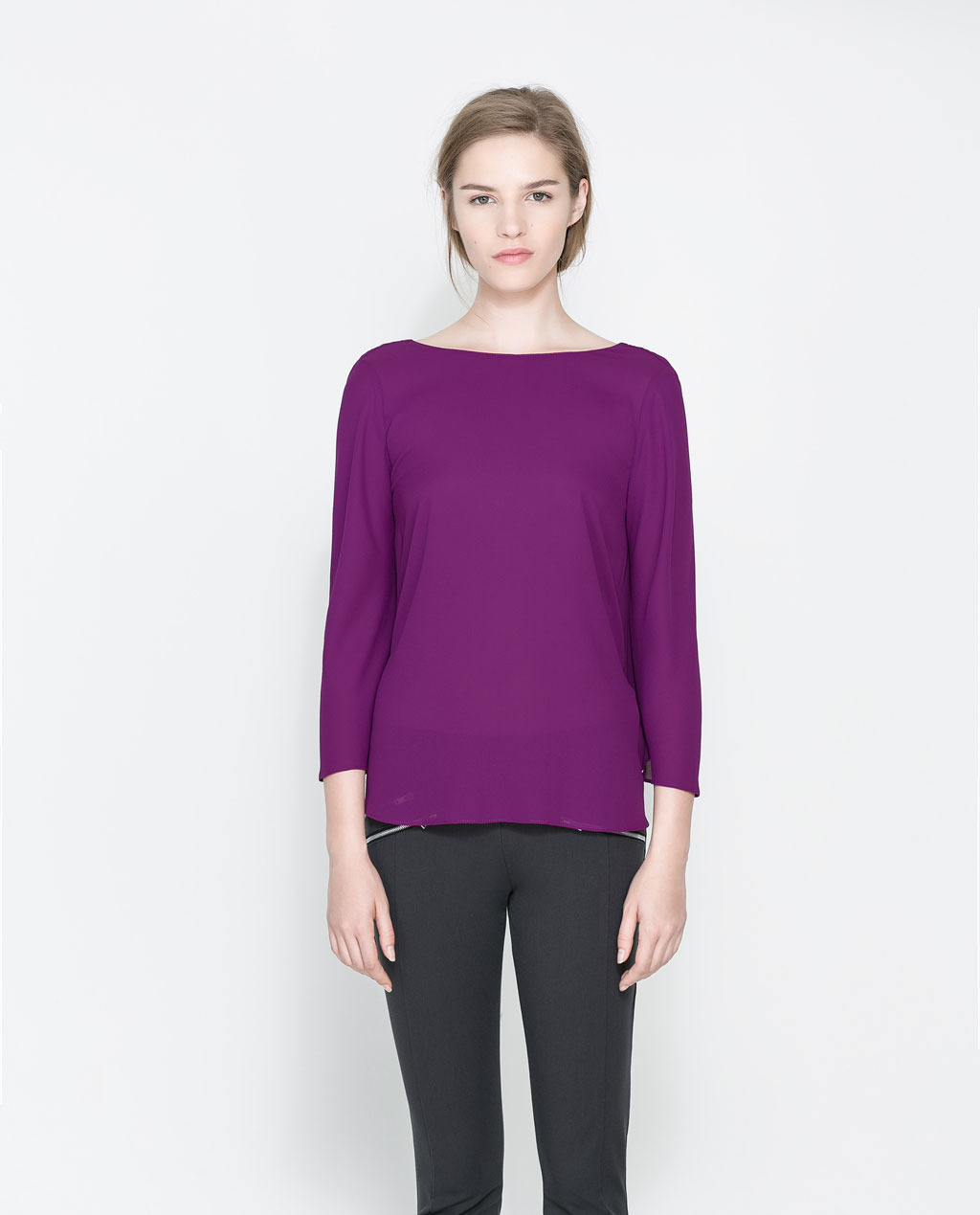 Blouse With Draped Back - neckline: slash/boat neckline; pattern: plain; back detail: cowl/draping/scoop at back; style: blouse; predominant colour: purple; occasions: casual, evening; length: standard; fibres: polyester/polyamide - 100%; fit: straight cut; sleeve length: 3/4 length; sleeve style: standard; texture group: cotton feel fabrics; pattern type: fabric; season: a/w 2013