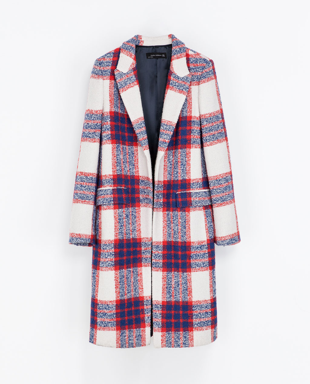 Checked Coat - pattern: checked/gingham; style: single breasted; length: on the knee; collar: standard lapel/rever collar; predominant colour: true red; secondary colour: navy; occasions: casual; fit: straight cut (boxy); fibres: acrylic - mix; sleeve length: long sleeve; sleeve style: standard; collar break: low/open; pattern type: fabric; pattern size: standard; texture group: woven bulky/heavy; season: a/w 2013