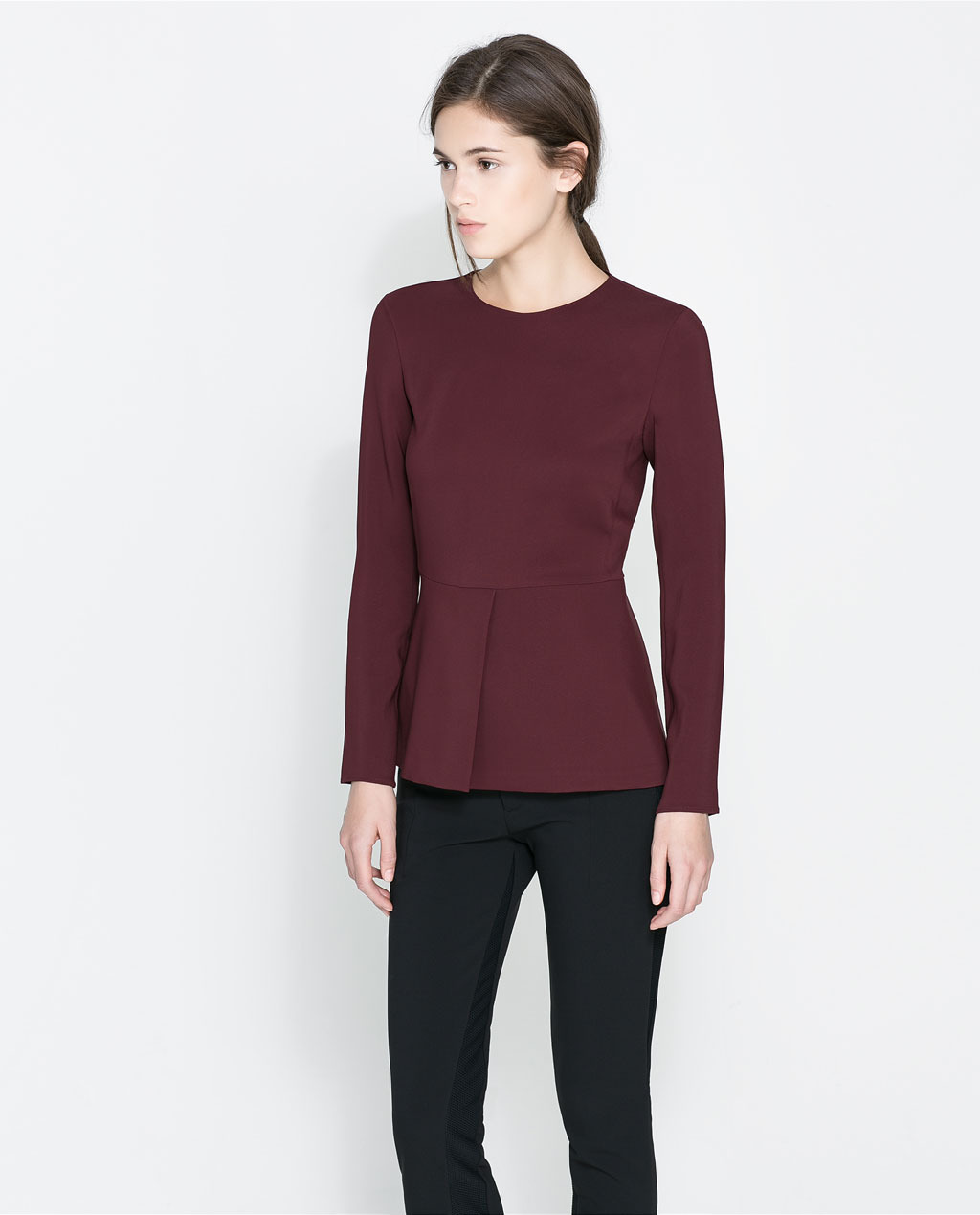 Peplum Top - pattern: plain; waist detail: peplum waist detail; predominant colour: burgundy; occasions: casual, evening, work; length: standard; style: top; fibres: viscose/rayon - stretch; fit: tailored/fitted; neckline: crew; sleeve length: long sleeve; sleeve style: standard; texture group: cotton feel fabrics; pattern type: fabric; season: a/w 2013