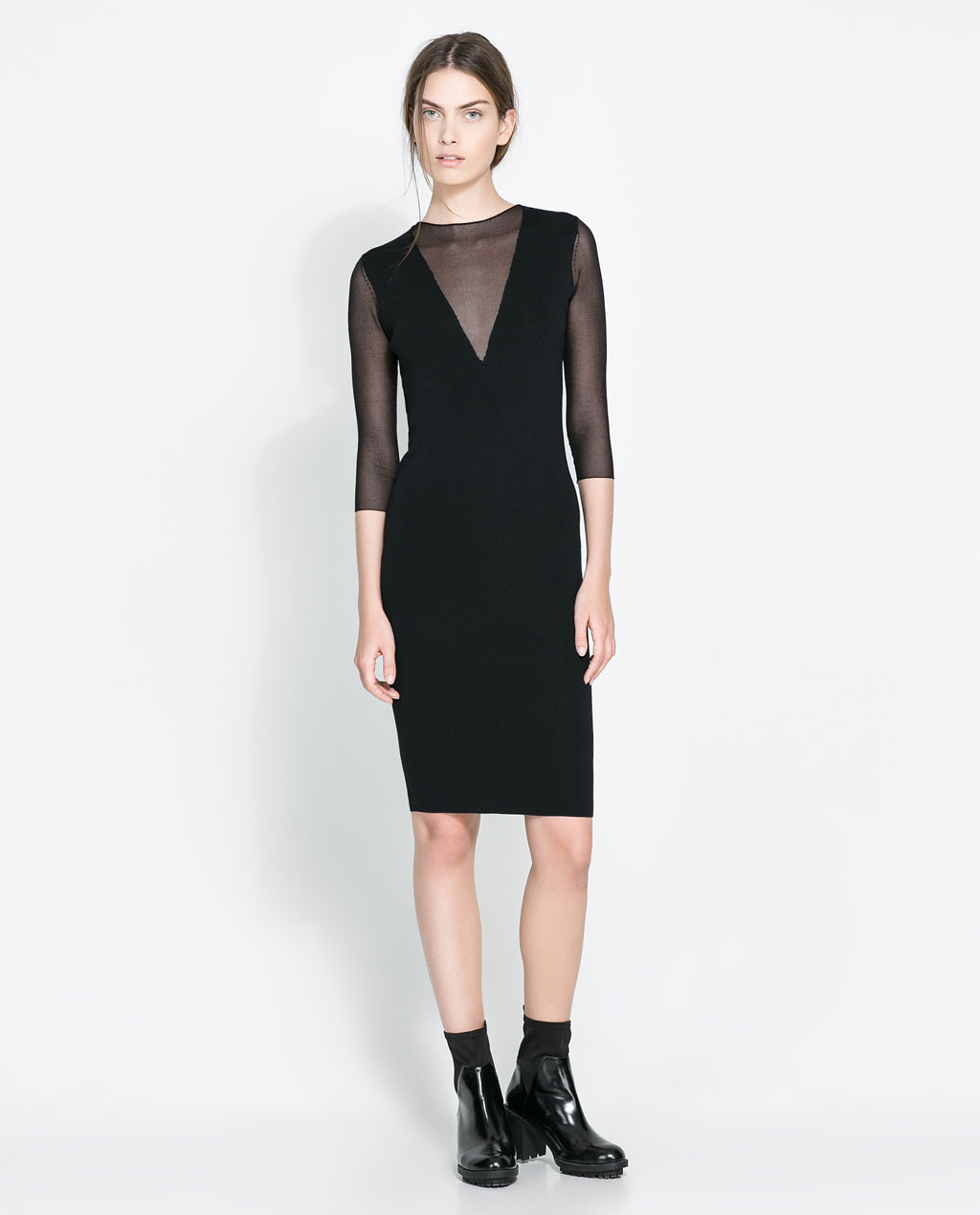Dress With Sheer Neckline - fit: tight; pattern: plain; style: bodycon; predominant colour: black; occasions: evening, occasion; length: just above the knee; neckline: crew; sleeve length: 3/4 length; sleeve style: standard; pattern type: fabric; texture group: jersey - stretchy/drapey; fibres: viscose/rayon - mix; trends: gothic romance; season: a/w 2013
