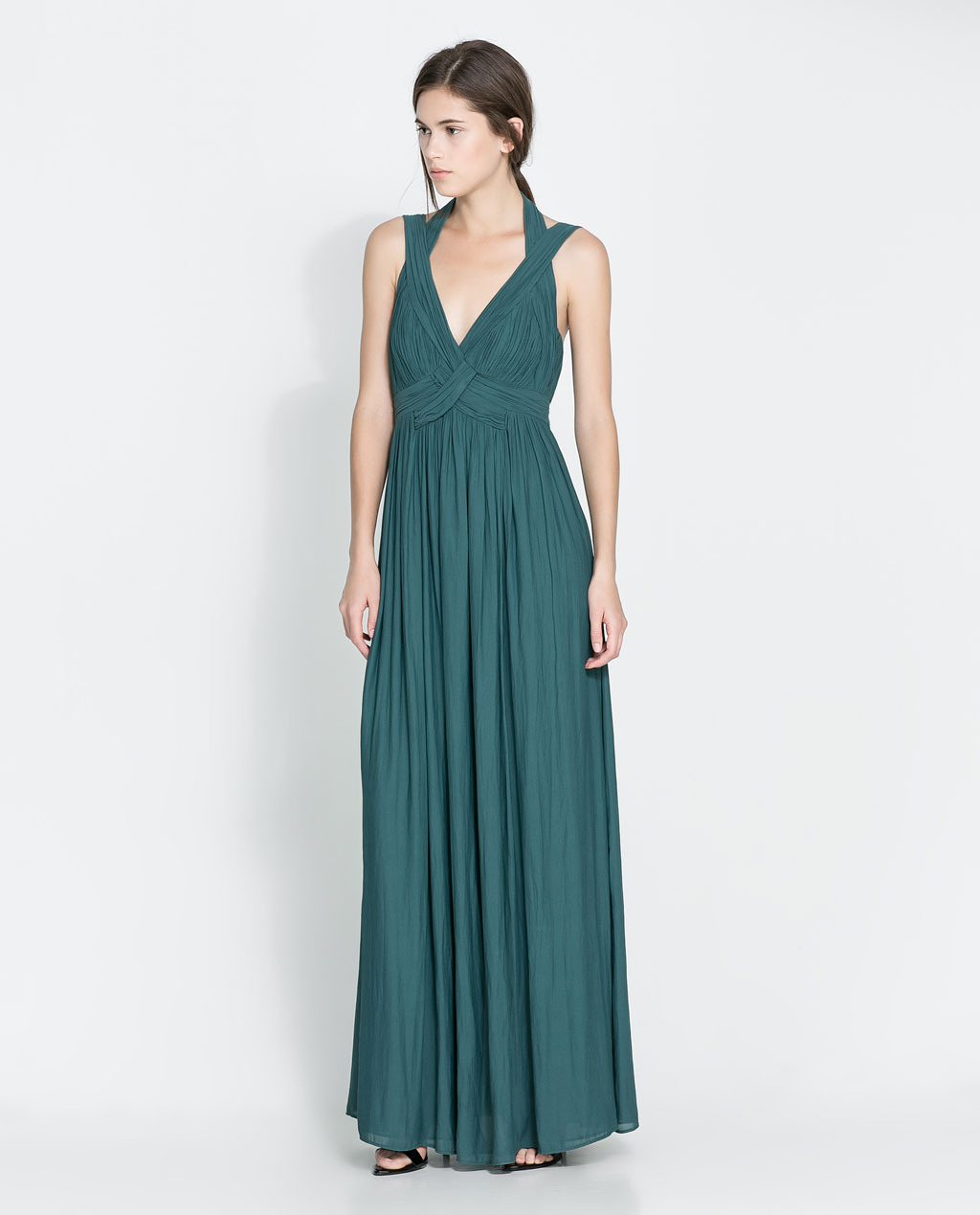 Long Gathered Dress - neckline: low v-neck; fit: empire; pattern: plain; sleeve style: sleeveless; style: maxi dress; waist detail: twist front waist detail/nipped in at waist on one side/soft pleats/draping/ruching/gathering waist detail; predominant colour: teal; length: floor length; fibres: polyester/polyamide - 100%; occasions: occasion; hip detail: soft pleats at hip/draping at hip/flared at hip; sleeve length: sleeveless; pattern type: fabric; texture group: jersey - stretchy/drapey; season: a/w 2013