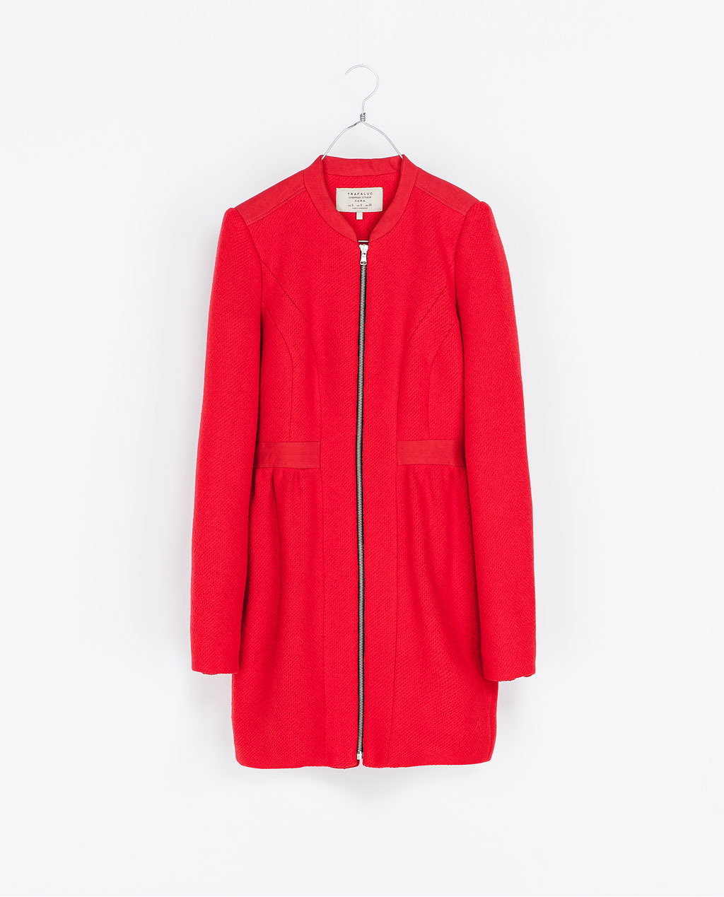 Wool Coat - pattern: plain; collar: round collar/collarless; style: single breasted; length: mid thigh; predominant colour: true red; occasions: casual; fit: tailored/fitted; fibres: cotton - mix; waist detail: belted waist/tie at waist/drawstring; sleeve length: long sleeve; sleeve style: standard; collar break: high; pattern type: fabric; texture group: woven bulky/heavy; season: a/w 2013