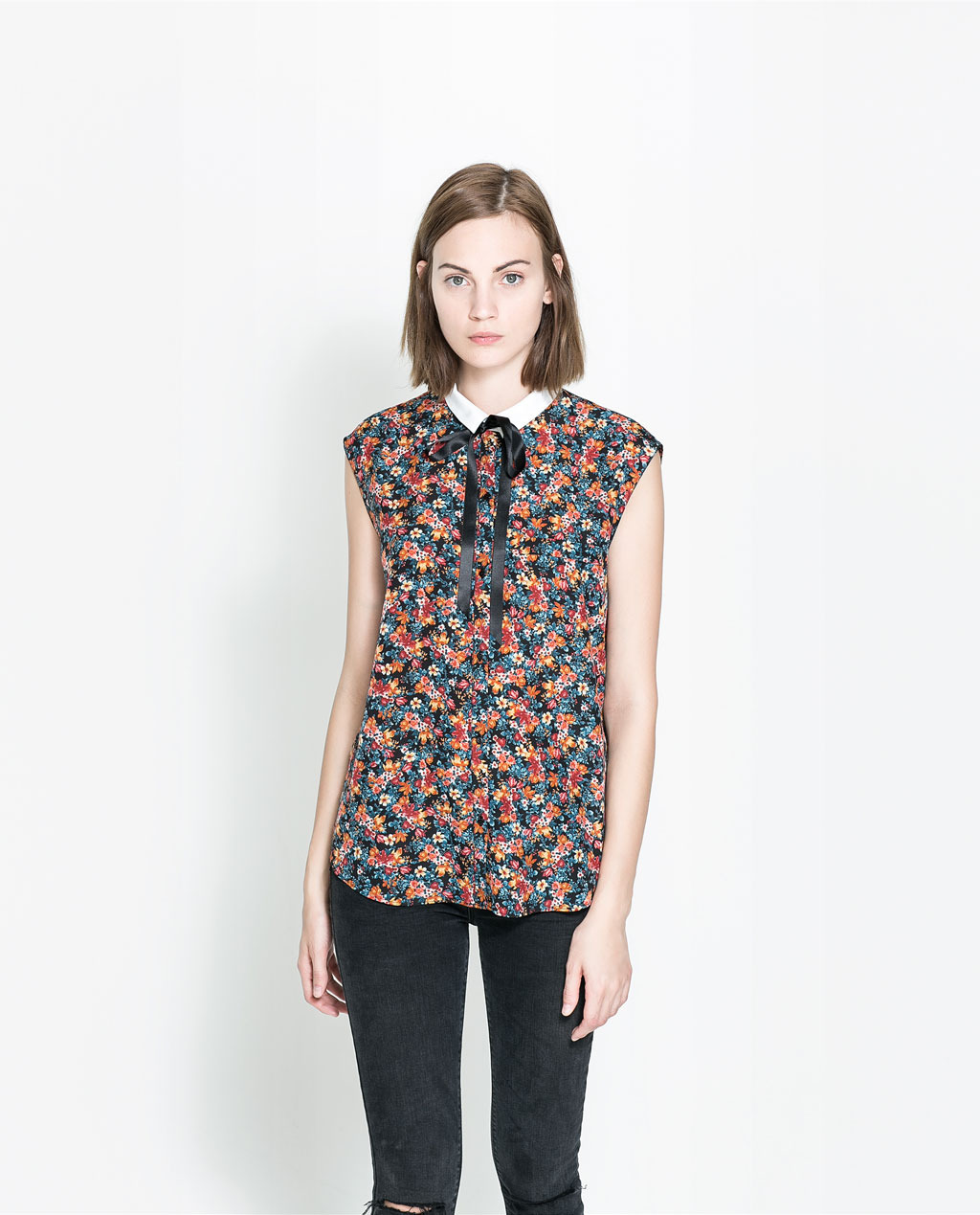 Shirt With Bow - sleeve style: capped; secondary colour: pink; predominant colour: denim; occasions: casual, creative work; length: standard; style: top; fibres: polyester/polyamide - 100%; fit: body skimming; neckline: no opening/shirt collar/peter pan; sleeve length: short sleeve; texture group: cotton feel fabrics; pattern type: fabric; pattern: florals; season: a/w 2013