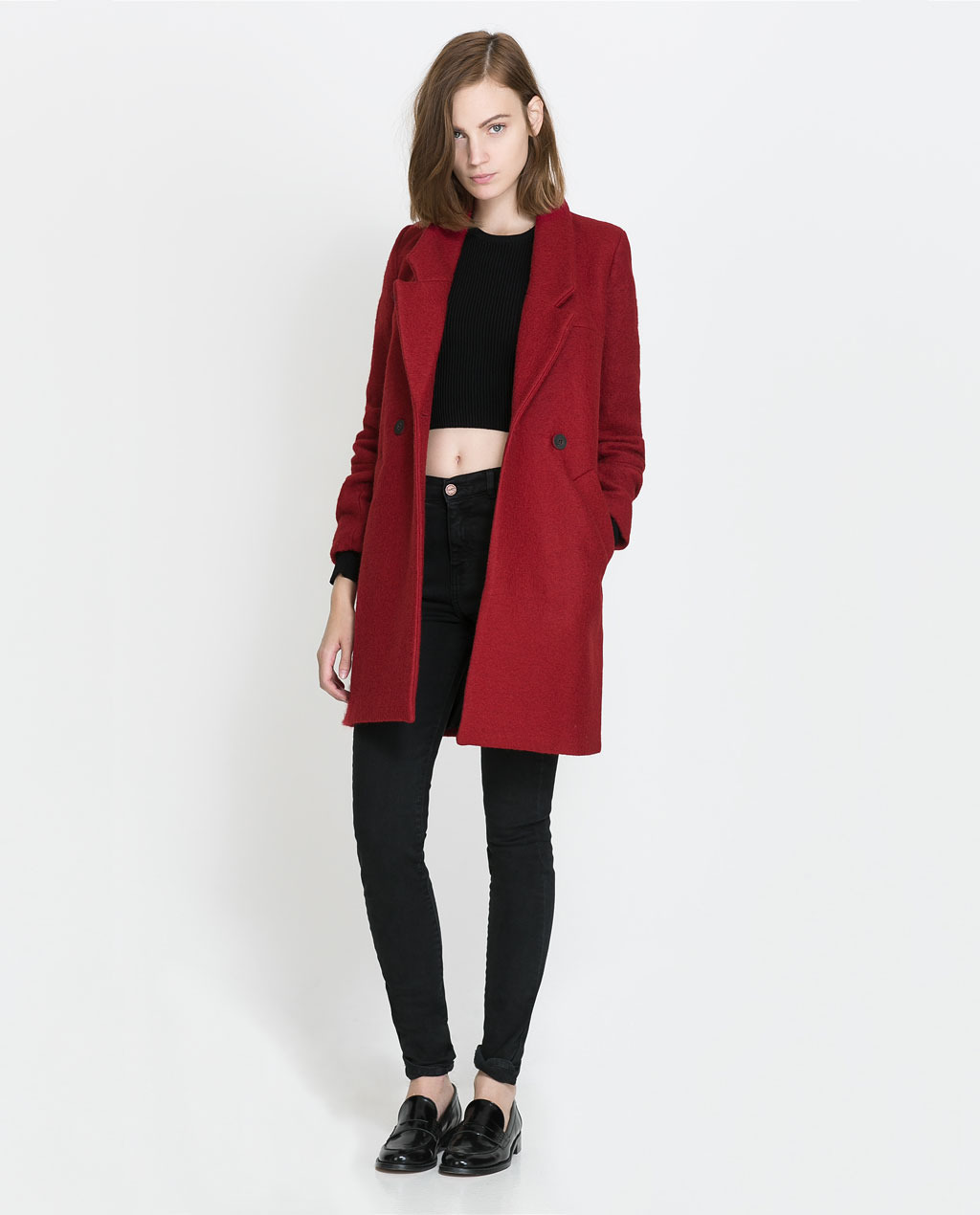 Double Breasted Coat - pattern: plain; style: double breasted; collar: standard lapel/rever collar; length: mid thigh; predominant colour: true red; occasions: casual, work; fit: straight cut (boxy); fibres: wool - mix; sleeve length: long sleeve; sleeve style: standard; collar break: medium; pattern type: fabric; texture group: woven bulky/heavy; season: a/w 2013