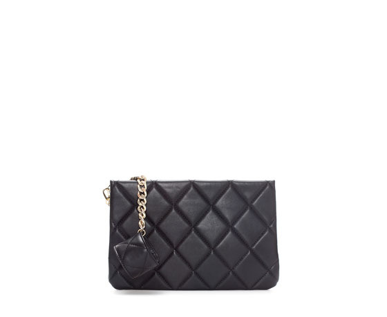 Quilted Wristlet Clutch - predominant colour: black; occasions: casual, evening, occasion, creative work; style: clutch; length: hand carry; size: standard; material: faux leather; embellishment: quilted; pattern: plain; finish: plain; trends: gothic romance; season: a/w 2013