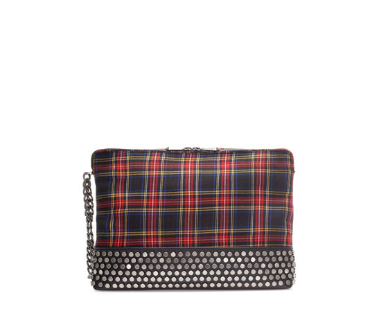 Checked Xl Clutch - predominant colour: true red; secondary colour: black; occasions: casual, evening; type of pattern: standard; style: clutch; length: hand carry; size: standard; material: faux leather; embellishment: studs; pattern: tartan; finish: plain; trends: gorgeous grunge; season: a/w 2013