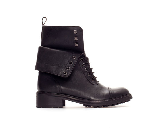 Leather Ankle Boot With Turn Over Flap - predominant colour: black; occasions: casual, creative work; material: leather; heel height: mid; heel: block; toe: round toe; boot length: knee; style: standard; finish: plain; pattern: plain; trends: gorgeous grunge; season: a/w 2013