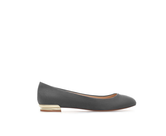 Ballerina Shoes With Metal Heel - secondary colour: gold; predominant colour: mid grey; occasions: casual, work; material: faux leather; heel height: flat; toe: round toe; style: ballerinas / pumps; finish: plain; pattern: plain; season: a/w 2013