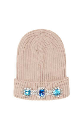 Heavy Embellished Beanie - predominant colour: blush; secondary colour: turquoise; occasions: casual; style: beanie; size: standard; material: knits; pattern: plain; embellishment: jewels/stone; trends: excess embellishment; season: a/w 2013
