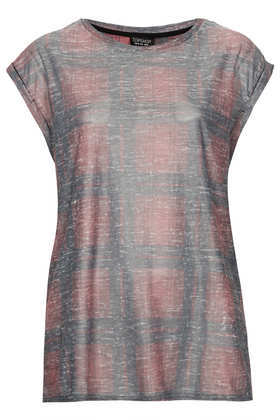Washed Check Tee - neckline: round neck; sleeve style: capped; pattern: checked/gingham; style: t-shirt; secondary colour: pink; predominant colour: silver; occasions: casual, creative work; length: standard; fibres: polyester/polyamide - 100%; fit: body skimming; sleeve length: short sleeve; pattern type: fabric; texture group: jersey - stretchy/drapey; season: a/w 2013