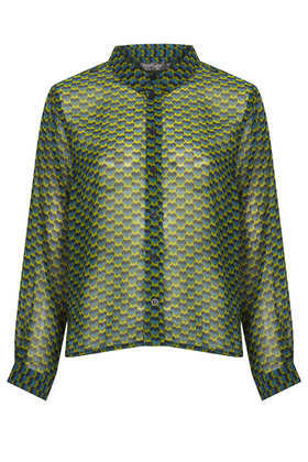Heart Geo Print Shirt - neckline: shirt collar/peter pan/zip with opening; style: shirt; predominant colour: dark green; occasions: casual, evening, creative work; length: standard; fibres: polyester/polyamide - 100%; fit: body skimming; sleeve length: long sleeve; sleeve style: standard; texture group: sheer fabrics/chiffon/organza etc.; pattern type: fabric; pattern size: standard; pattern: patterned/print; season: a/w 2013