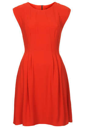 Crepe Seam Flippy Dress - neckline: round neck; sleeve style: capped; pattern: plain; predominant colour: true red; occasions: casual, evening, creative work; length: just above the knee; fit: fitted at waist & bust; style: fit & flare; fibres: polyester/polyamide - stretch; sleeve length: short sleeve; pattern type: fabric; texture group: jersey - stretchy/drapey; trends: 1940's hitchcock heroines; season: a/w 2013