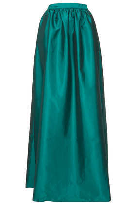 Green Full Satin Maxi Skirt - pattern: plain; fit: loose/voluminous; waist: high rise; predominant colour: dark green; occasions: evening, occasion; length: floor length; style: maxi skirt; fibres: polyester/polyamide - 100%; hip detail: subtle/flattering hip detail; waist detail: feature waist detail; texture group: structured shiny - satin/tafetta/silk etc.; pattern type: fabric; trends: broody brights; season: a/w 2013