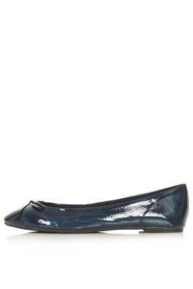 Mixer Ripple Ballet Pumps - predominant colour: navy; occasions: casual, work, creative work; material: faux leather; heel height: flat; toe: round toe; style: ballerinas / pumps; finish: patent; pattern: plain; trends: broody brights; season: a/w 2013