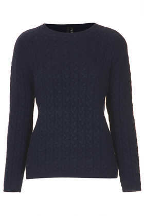 Cable Knit Jumper Boutique - pattern: plain; style: standard; predominant colour: navy; occasions: casual, work, occasion, creative work; length: standard; fibres: nylon - mix; fit: standard fit; neckline: crew; sleeve length: long sleeve; sleeve style: standard; texture group: knits/crochet; pattern type: knitted - fine stitch; pattern size: light/subtle; trends: broody brights; season: a/w 2013