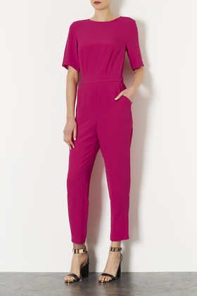 Lux Matte Tshirt Jumpsuit - fit: tailored/fitted; pattern: plain; predominant colour: hot pink; occasions: casual, evening, occasion, holiday, creative work; length: ankle length; fibres: cotton - 100%; neckline: crew; sleeve length: half sleeve; sleeve style: standard; texture group: crepes; style: jumpsuit; pattern type: fabric; season: a/w 2013