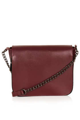 Clean Chain Strap Crossbody Bag - predominant colour: burgundy; occasions: casual, creative work; type of pattern: standard; style: shoulder; length: across body/long; size: standard; material: leather; pattern: plain; finish: plain; embellishment: chain/metal; season: a/w 2013