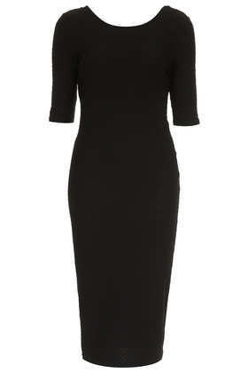 Textured Midi Bodycon Dress - neckline: round neck; fit: tight; pattern: plain; style: bodycon; predominant colour: black; occasions: casual, evening, work, occasion, creative work; length: on the knee; fibres: cotton - stretch; sleeve length: short sleeve; sleeve style: standard; texture group: jersey - clingy; pattern type: fabric; trends: 1940's hitchcock heroines; season: a/w 2013