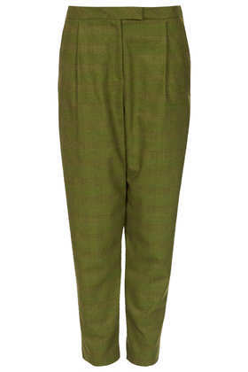 Check Pleat Trousers - pattern: plain; pocket detail: small back pockets, pockets at the sides; style: peg leg; waist: mid/regular rise; predominant colour: khaki; occasions: casual, evening, creative work; length: ankle length; fibres: polyester/polyamide - mix; texture group: cotton feel fabrics; fit: tapered; pattern type: fabric; season: a/w 2013