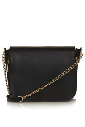 Clean Chain Strap Crossbody Bag - secondary colour: gold; predominant colour: black; occasions: casual, creative work; type of pattern: standard; style: shoulder; length: across body/long; size: standard; material: leather; pattern: plain; finish: plain; embellishment: chain/metal; season: a/w 2013