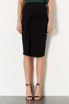 Black Twist And Drape Tube Skirt - length: below the knee; pattern: plain; fit: tight; waist: high rise; predominant colour: black; occasions: evening, work, creative work; fibres: viscose/rayon - stretch; style: tube; pattern type: fabric; texture group: jersey - stretchy/drapey; trends: 1940's hitchcock heroines, gothic romance; season: a/w 2013
