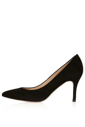 Gene Black Suede Mid Courts - predominant colour: black; occasions: evening, occasion; material: suede; heel height: high; heel: stiletto; toe: pointed toe; style: courts; finish: plain; pattern: plain; season: a/w 2013