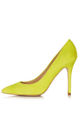 Gwenda Suede Courts - predominant colour: yellow; occasions: casual, evening; material: suede; heel height: high; heel: stiletto; toe: pointed toe; style: courts; finish: plain; pattern: plain; season: a/w 2013