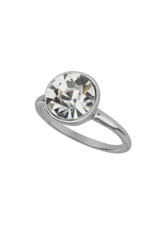 Silver Plated Large Crystal Stone Ring - predominant colour: silver; occasions: evening, occasion; style: precious; size: standard; material: chain/metal; finish: metallic; embellishment: crystals/glass; season: a/w 2014