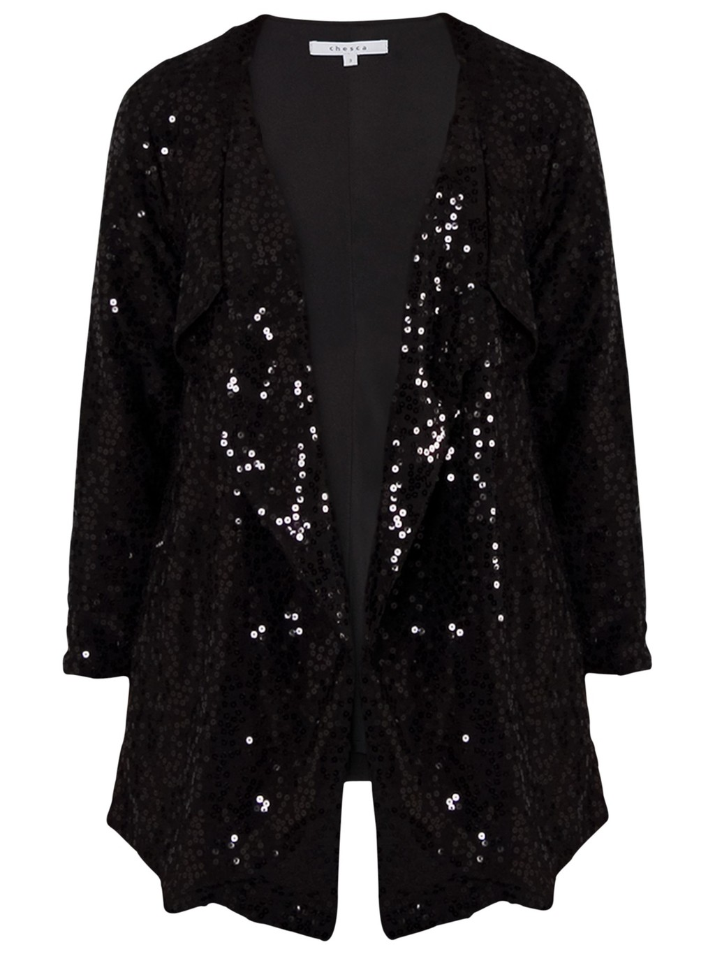 Sequin Jacket, Black - pattern: plain; collar: shawl/waterfall; fit: loose; length: below the bottom; predominant colour: black; occasions: evening, occasion; fibres: polyester/polyamide - stretch; sleeve length: long sleeve; sleeve style: standard; collar break: low/open; pattern type: fabric; texture group: other - light to midweight; embellishment: sequins; style: fluid/kimono; season: a/w 2013