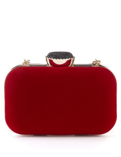 M&S Collection Gem Velvet Clutch - predominant colour: true red; occasions: evening, occasion; style: clutch; length: hand carry; size: standard; material: fabric; pattern: plain; finish: plain; embellishment: jewels/stone; season: a/w 2013