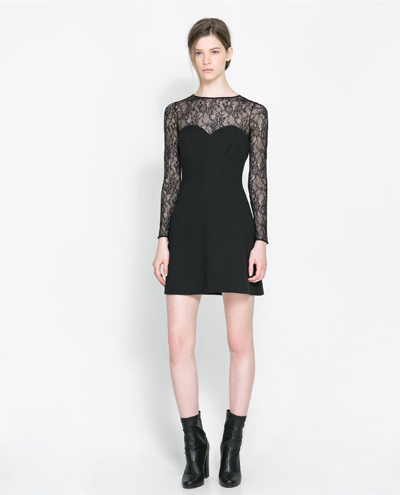 Combined Lace Dress - style: shift; length: mid thigh; fit: tailored/fitted; waist detail: fitted waist; shoulder detail: contrast pattern/fabric at shoulder; back detail: contrast pattern/fabric at back; predominant colour: black; secondary colour: black; occasions: evening, occasion; fibres: polyester/polyamide - stretch; neckline: crew; sleeve length: long sleeve; sleeve style: standard; texture group: lace; pattern type: fabric; pattern size: light/subtle; pattern: patterned/print; embellishment: lace; trends: gothic romance; season: a/w 2013